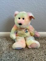 Peace the Ty-Dyed Bear Ty beanie buddy - 1999Mint Condition.