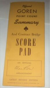 Bridge Score Pad Charles Goren VTG