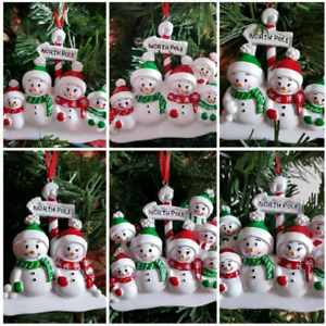 Personalised Christmas Tree Decoration North Pole Snowman Family Ornament  2 - 7