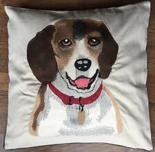 1 Cream polyester/linen Blend 45cm Dog Image, CUSHION COVER embroidered