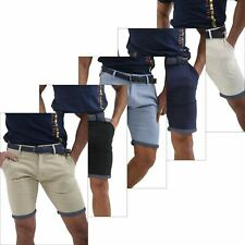 Mens Belted Slim Fit Stretch Chino Shorts Summer Casual Cotton Spandex Bottoms