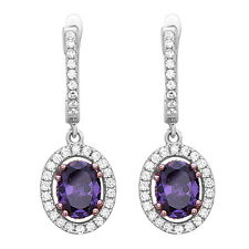 Sterling Silver Drop Earrings with AAA quality Amethyst Purple and White CZ
