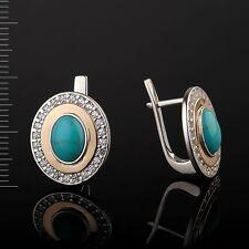 Silber Ohrringe aus 875 & Gold 375° VERGOLDET mit Türkis und CZ. NEU