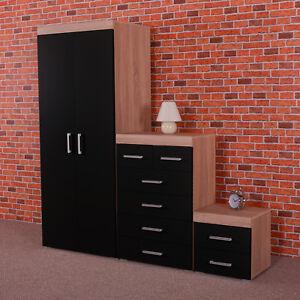 Bedroom Furniture Set Black/Sonoma Oak Wardrobe 4+2 Drawer Chest Bedside Cabinet