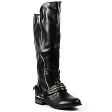 Faux Leather Studded w Buckle Strap Zipper Fashion Knee High Riding Boots