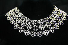 D8 Silver Oval Link Three Strand Necklace & Earring Set Boutique