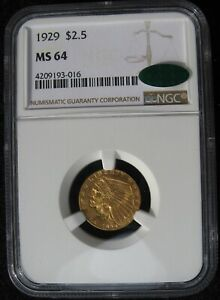 1929 $2 1/2 Quarter Eagle Indian Head Gold NGC MS 64 CAC