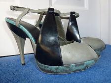 Diesel black/gold label stilleto heel peep toe unusual platform made in Italy