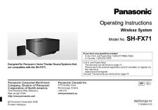 Panasonic SH-FX71 Wireless System Owners Instruction Manual