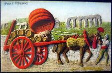 ITALY~ITALIA~1900's COSTUMI ROMANI ~Carro da Vino~WINE BARRELS~Artist FEDERICI
