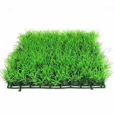 23x23cm artificial falso Agua acuático verde planta de pasto de césped peces tanque decoración Pat