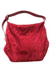 Furla Nylon & Leather Red Handbag Silver Tone Hardware Shoulder Bag Authentic