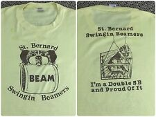 Vintage Mens XL 80s St. Bernard Swingin Beamers Dog Lover Graphic Yellow T-Shirt