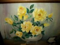 YELLOW ROSES OIL PAINTING GILT FRAME JEWELRY BOX PEARLS VINTAGE MID CENTURY