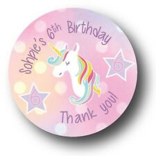 30 Unicorn Personalized Birthday Party Favors Treat Bag Stickers