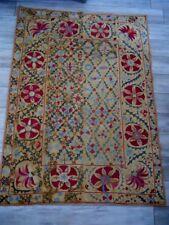 Suzani antique embroidery 19th-century floral decor.