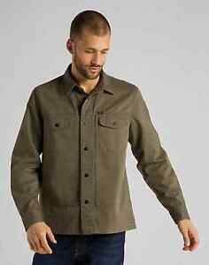 LEE HEAVY DENIM MILITARY WORKERSHIRT OVER SHIRT  - OLIVE GREEN - LARGE - £115