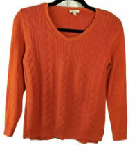 Talbots Womens Sweater PulloverCable V Neck Knit Top Orange Size Petite Small