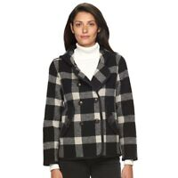 Woolrich Century Hooded Plaid Wool Blend Peacoat Black Plaid, Size L, MSRP $225
