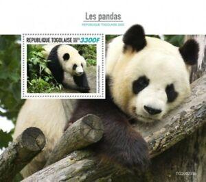 Togo - 2020 Géant Panda Ours - Tampon Souvenir Feuille - TG200235b