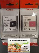 Genuine Sealed Canon Inks PFI-102BK PFI-102M PLUS A FREE $25 GIFT CARD