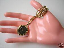EUSI Kettenuhr Uhrenkette Kette Taschen Uhr Farben:Schwarz,Gold Handaufzug