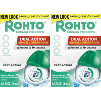 2 Pack Rohto Lubricant Eye Drops Redness Relief Cooling 0.4oz Each