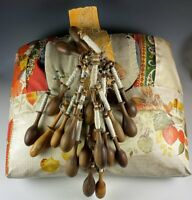 Antique Bobbin Lace Maker's Tool, Pillow & 20 Antique Turned Wood Bobbins, Spool