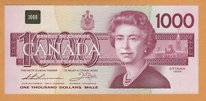 Canada UNC $1000 Dollars Banknote 1988 P-100a / BC-61a Thiessen-Crow EKA Prefix