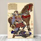 "Cool Japanese SAMURAI Warrior Art CANVAS PRINT 24x18""~ Kuniyoshi Horse #161"