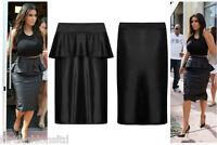 Womens Plus Big Size Pencil Skirt Ladies Wet Look Shift Peplum Knee Length Midi