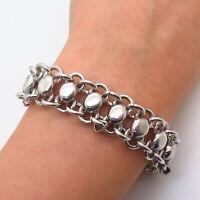 """925 Sterling Silver Vintage Modernist Design Link Bracelet 7"""""""