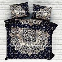 Black Gold Ombre Mandala Indian Duvet Doona Cover Throw Cotton Quilt Blanket Set