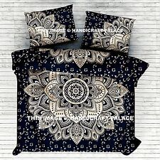 Black Gold Ombre Mandala Indian Duvet Doona Cover Throw Cotton Quilt Blanket Set