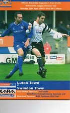 Luton Town v Swindon Town 2003/04 Nationwide  division 2 plus ticket