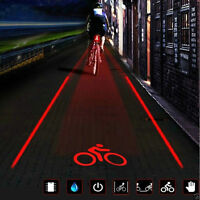 2 Laser 5 LED Flashing Lamp Light Rear Cycling Bicycle Bike Tail Safety Warning