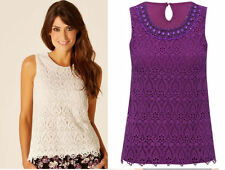 ex M&Co Top - M&Co Crochet Lace Top with Embellished Neckline