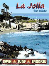 La Jolla Cove San Diego California United States Travel Advertisement Poster