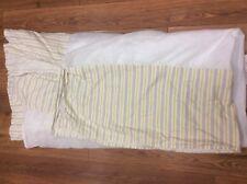 """Ralph Lauren Bed Skirt Queen Gold Gray White Stripe Split Corners 15"""" Drop"""