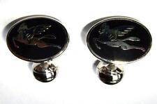 ETRO Cufflinks Black Enamel Silver Winged Horses Pegasus