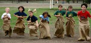 10  Leap Frog Potato Sack Rack Burlap Bags - Carnival Games Birthday Relay Race