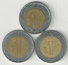 3 BI-METAL 1 PESO COINS from MEXICO (2006, 2007 & 2008)