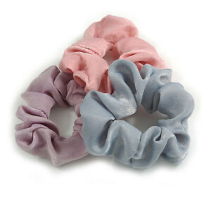 Pack Of 3 Pastel Pink/ Grey/ Purple Satin Hair Scrunchies - Medium Thickness