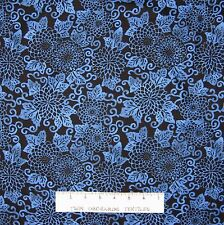 Riverwoods Fabric - Blue Floral on Black - Midnight Blue Cotton 33""