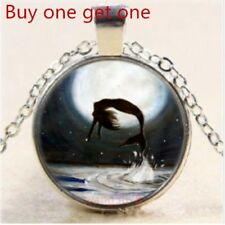 Silver Chain Pendant Necklace Mermaid Cabochon Glass Tibet