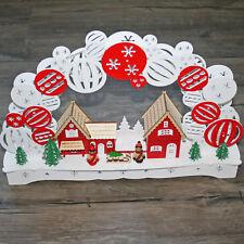 "3D LED in Legno Arco di Natale Luci "" Scandinavia "" Bianco Rosso Svezia"