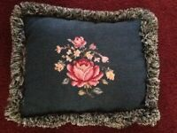 Floral Needlepoint  Pillow Green With Velvet Back & Cotton Yarn Fringe 14 X 17""