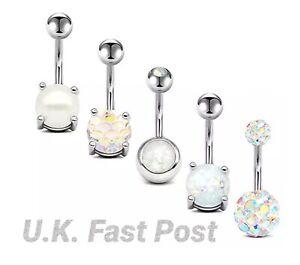 Stunning silver belly bar shamballa diamanté crystal Opal Pearl rainbow mermaid