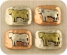 2 Hole Beads Cow Bull Steer 4H Rustic Squares Barn Animal 3T Metal Sliders QTY 4