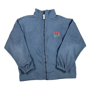 Vintage USA Olympics Jacket Mens XL Blue Polyester Fleece Full Zip Made In USA